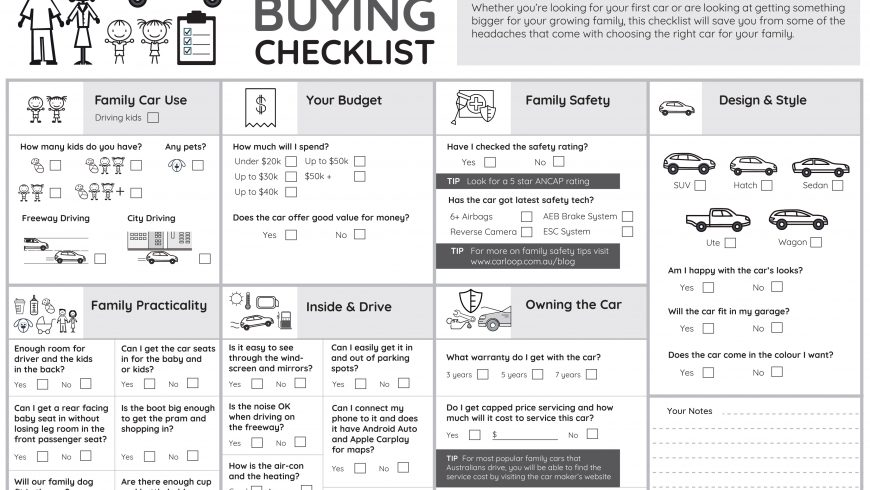 Family Car Buying Checklist